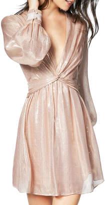 Ramy Brook Elsie Plunging Metallic Short Dress