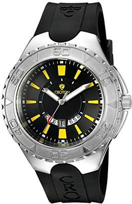 Croton Men's 'SUPER' Quartz Stainless Steel and Silicone Casual Watch