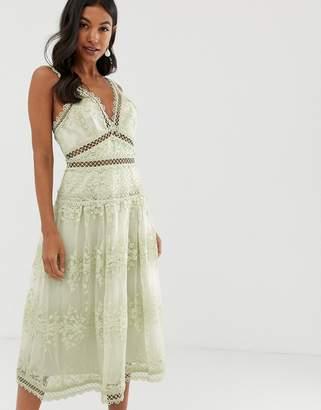 Asos Design DESIGN midi dress in floral embroidered broderie