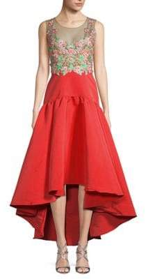 Marchesa Embroidered Fit-&-Flare Dress