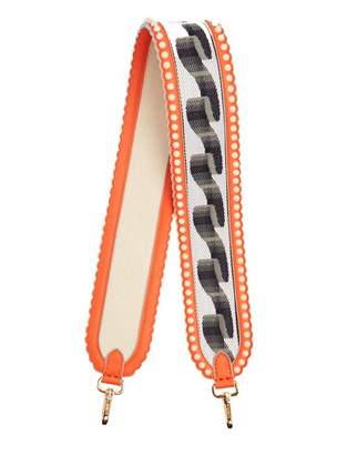 Fendi Strap You Ribbon Embroidered Leather Bag Strap - Womens - Orange Multi
