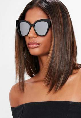 Missguided Brown Tortoise Shell Thick Cat Eye Sunglasses