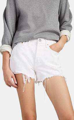 GRLFRND Women's Helena Distressed Denim Cutoff Shorts - White