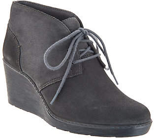 Clarks Suede Lace-Up Wedge Booties - HazenCharm