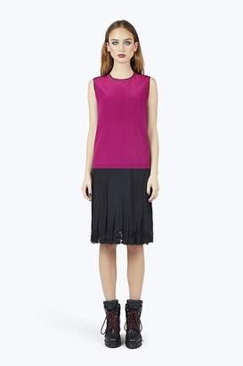 Marc Jacobs Silk Pleated Drop-Waist Dress With Lace Hem