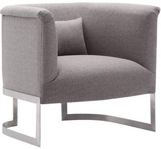 Armen Living Elite Accent Chair, Brushed Steel Finish with Fabric Upholstery