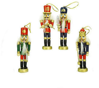 Asstd National Brand Pack of 4 Red Blue and Green Decorative Wooden Christmas Nutcracker Ornaments 5