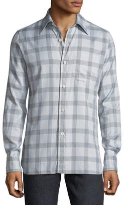 Tom Ford Men's Houndstooth Plaid Cotton Dress Shirt