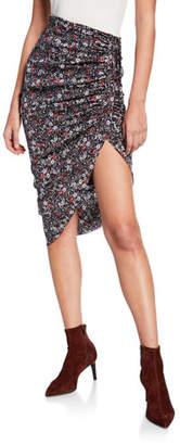 Veronica Beard Ari Ruched Silk Floral High-Low Skirt