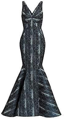 Zac Posen Women's Metallic Party Jacquard Snake Print Mermaid Gown