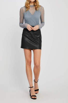 Gentle Fawn Black Vegan Miniskirt