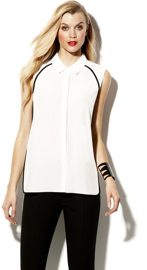 Vince Camuto Front Contrast Piping Blouse