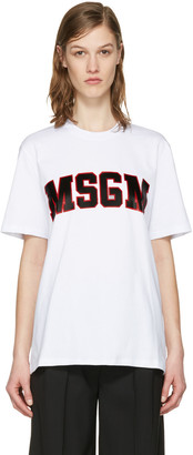 MSGM White College Logo T-Shirt $120 thestylecure.com