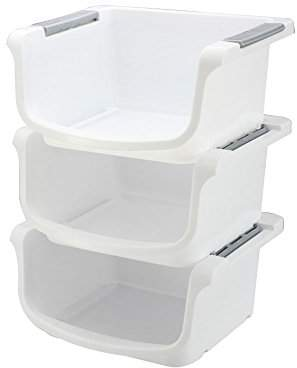 YBM HOME Plastic Stackable Storage Basket Organizer Tray Open Bin Set of 3 White 2137