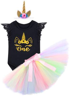 Smash Wear IBTOM CASTLE Baby Girls 1st Birthday Unicorn Outfit Cake Crown Bodysuit Romper Tutu Skirt Headband Princess Costume 3PCS Clothes Set 6-12 Months