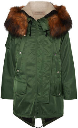 Burberry (バーバリー) - Burberry - Faux Fur-trimmed Shell Parka - Army green