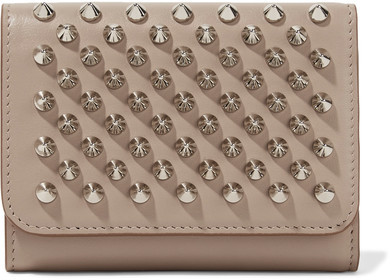 Christian Louboutin  Christian Louboutin - Macaron Mini Spiked Leather Wallet - Beige