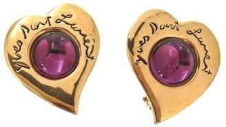 Gold Tone Hardware Purple Rhinestone Heart Earrings