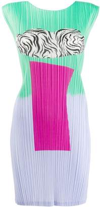 Pleats Please Issey Miyake print mix dress