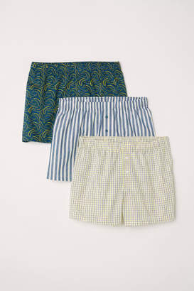 H&M 3-pack Woven Boxer Shorts - Yellow