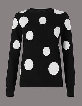 Marks and Spencer Pure Cashmere Spotted Round Neck Jumper