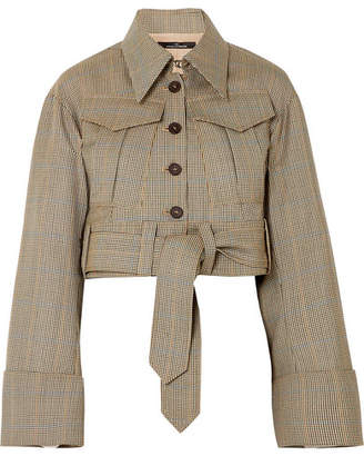 Rokh Belted Houndstooth Wool Jacket - Sand