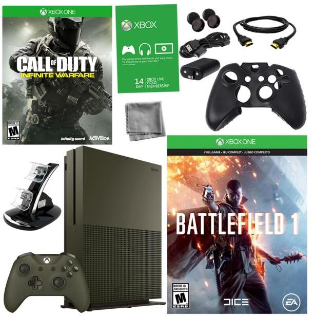 """Microsoft Xbox One S 4K Ultra HD 1TB Special Edition Green Console with """"Battlefield 1"""" and """"Call of Duty: Infinite Warfare"""" Games and Ac..."""