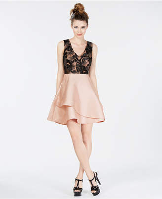 BCX Juniors' Embellished Contrast Fit & Flare Dress