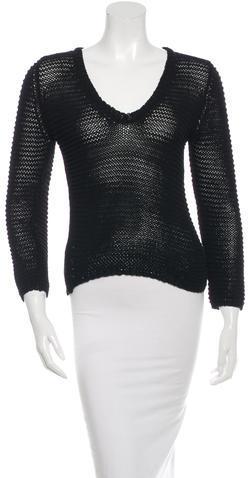 Jil SanderJil Sander Open-Knit V-Neck Sweater