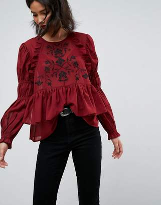 Asos Design Embroidered Poet Sleeve Blouse