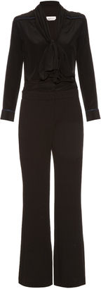 SEE BY CHLOÉ Long-sleeved neck-tie jumpsuit $595 thestylecure.com