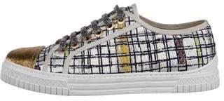 Chanel Metallic Cap-Toe Low-Top Sneakers