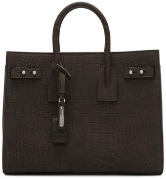 Saint Laurent Brown Croc Small Sac De Jour Tote