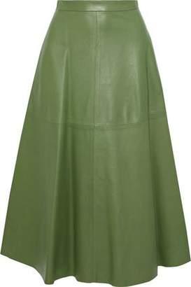 Valentino Flared Leather Midi Skirt