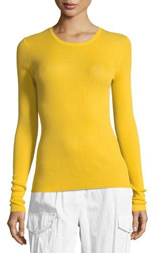Michael Kors Collection Crewneck Long-Sleeve Ribbed Cashmere Top