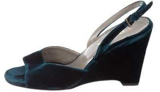 Prada Velvet Slingback Wedges Blue Velvet Slingback Wedges