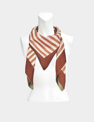Sonia Rykiel Reversible Stripes Square Scarf in Terre Brûlée Multi Twill Silk