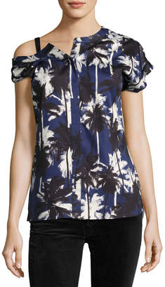 Jason Wu Asymmetric Palm-Print Blouse Blue Pattern