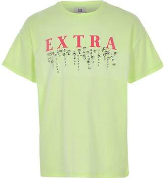 River Island Girls green 'extra' embellished T-shirt