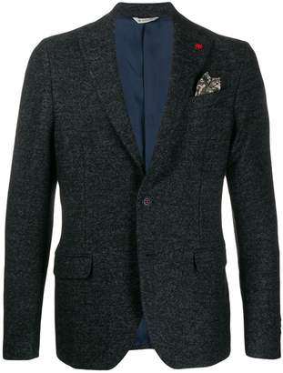 badge embellished blazer