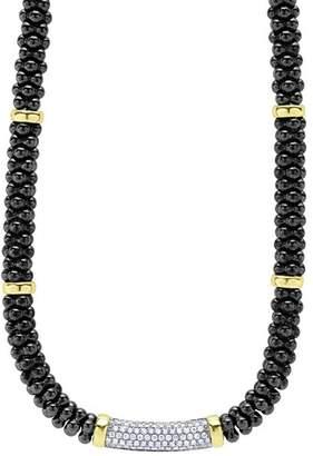 "Lagos Black Caviar Ceramic and Pavé Diamond Necklace with 18K Gold Stations, 16"""