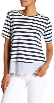 Sanctuary Long Beach Eyelet Contrast Stripe Tee