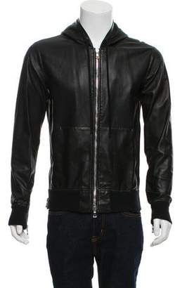 Balmain Leather Zip-Up Sweater
