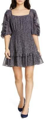 Rebecca Taylor Block Vine Ruffle Detail Cotton & Silk Blend Dress