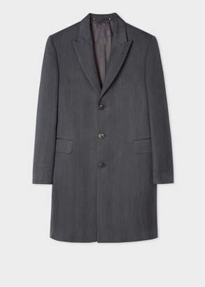 Paul Smith Mens Dark Grey Herringbone Wool Peak Lapel Epsom Coat