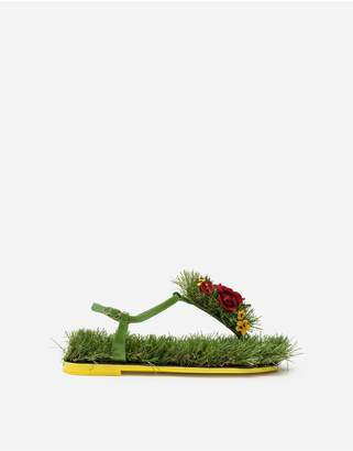 Dolce & Gabbana Thong Sandals In Mixed Materials With Embroideries
