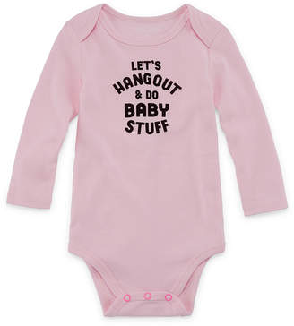 Okie Dokie Let's Hang Out and Do Baby Stuff Long Sleeve Slogan Bodysuit - Baby Girl NB-24M