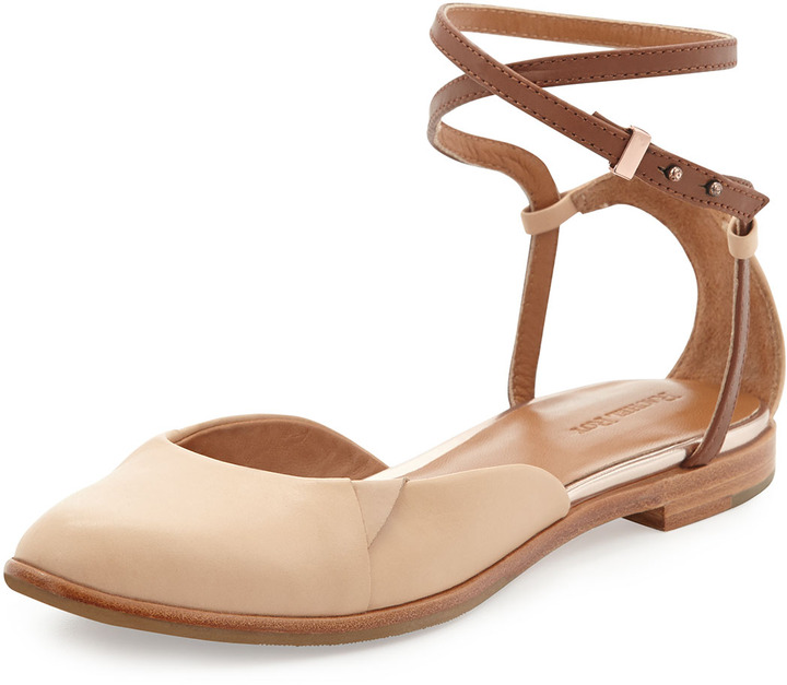 Rachel Roy Ivy Two-Tone Wrap-Ankle Flat, Natural