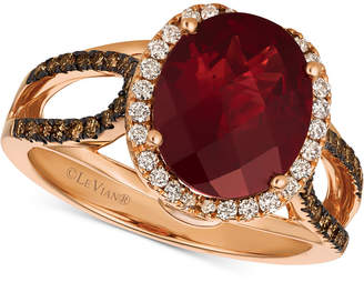 LeVian Le Vian Chocolatier Blue Topaz (4 ct. t.w.) & Diamond (3/8 ct. t.w.) Ring in 14k Rose Gold, (also in Rhodolite Garnet), Created for Macy's