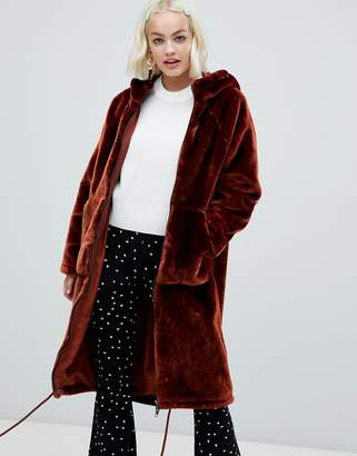 Monki faux fur zip hooded coat in brown